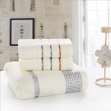Sale 3Pcs Set Luxurious Cotton Bath Towel Sets For Adults Kidssolid Beach Towel Thickening *d*lt Bath Towels Bathrobe White 34X70Cm And 70X140Cm On Singapore