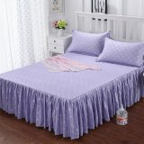 Retail 3Pcs Single Full Queen Size High Quality Aloe Vera Cotton Bed Skirt Purple Dot Intl