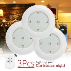 3Pcs White LED Lignting Light Battery Under Cabinet Wireless Remote Control Lamp - intl