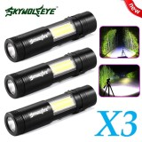 Buy 3X Mini Flashlight Xpe Q5 Cob Led Torch Lamp Penlight Aa 14500 4 Modes Intl Skywolfeye