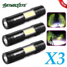 New 3X Mini Flashlight Xpe Q5 Cob Led Torch Lamp Penlight Aa 14500 4 Modes Intl