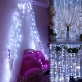 Low Cost 3X3M Led Light Window Curtain String Fairy Light Home Garden Decoration For Christmas Valentine S Day Birthday Festival Christmas Halloween Wedding Party Night Uk Plug White Intl