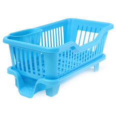 4 Color Kitchen Dish Drainer Drying Rack Washing Holder Basket Organizer Tray Blue For Sale