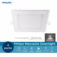 Top 10 4 Packs Philips 59527 Marcasite Square Shape Downlight 12W Led Cut Out 4 125Mm 65K Cool Daylight Color White Light