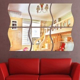 The Cheapest 4 Pcs 27X28 Acrylic Decorative Wave Shape Mirror Wall Sticker Solid Decoration Wall Mirror Attached Home Furnishing Wave Shape Intl Online