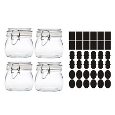 Compare Price 4 Pcs 250Ml Round Clear Glass Kitchen Storage Canister Jars 36 Pcs Chalkboard Labels Stickers For Home Kitchen Snack Foods Sauces Arts Crafts Projects Decoration Intl On China