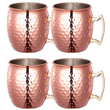 Sale 4 Pcs 530Ml Stainless Steel Copper Plating Hammered Drum Style Moscow Mule Beverage Mug Cups With Handle Thinch Cheap