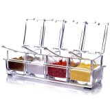 4 Pcs Clear Seasoning Box Rack Spice Condiment Pots Storage Container Cruet With Lid Spoon Kitchen Supplies Intl For Sale Online
