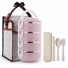 Low Cost 4 Tier Lunch Box With Utensils And Carrier Bag