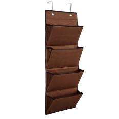 Best Deal 4 Tier Polyester Over The Door Hanging Organiser Storage Rack Bag Space Saver Brown Intl