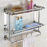 Get Cheap 40Cm 16Cm 46Cm Bathroom Shelves Two Layer Towel Holders Bath Towel Rack With Hooks Wall Mounted Double Deck Bathroom Shelves Stainless Steel