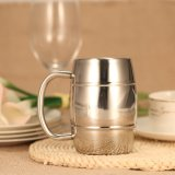 Retail Price 450Ml Stainless Steel Double Wall Coffee Tea Cup Tub Shaped Beer Mug