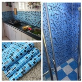 Wholesale 45 300Cm Bathroom Wall Stickers Pvc Mosaic Wallpaper Kitchen Waterproof Tile Stickers Plastic Vinyl Self Adhesive Wall Papers Home Decor Intl