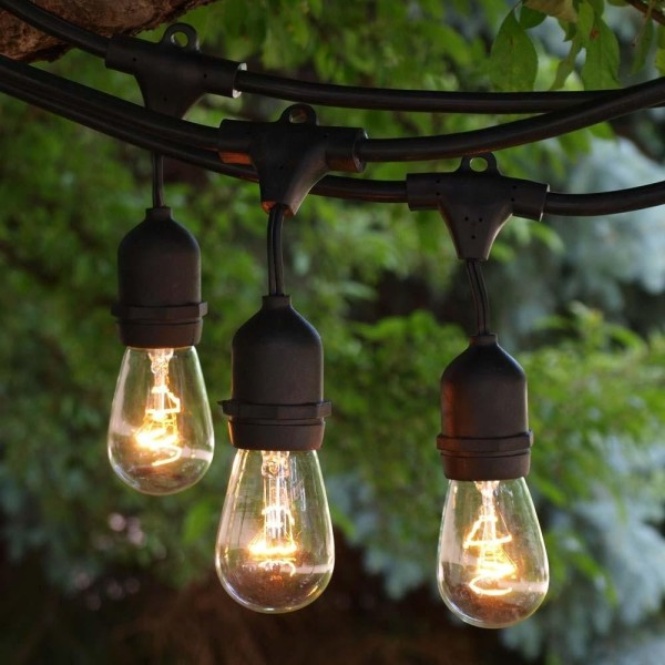 45FT Out door garden lamp LED Patio String Lights include Edison Bulbs Waterproof Pasar malam night market pendant light
