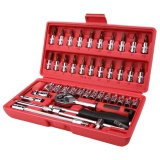 Great Deal 46Pcs Spanner Socket Set 1 4 Car Repair Tool Ratchet Wrench Set Hand Tools Red Silver Intl