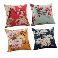 Buy 4Pc 45Cmx45Cm Flowers Vintage Cotton Linen Square Throw Pillow Case Decorative Cushion Cover Pillowcase For Sofa Intl Cheap China