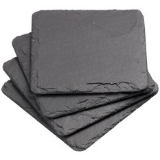 Where To Buy 4Pcs 10 10Cm Natural Slate Drink Coasters Glass Mug Cup Mats Pats Table Placemats Black Export Intl