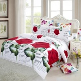 Top Rated 4Pcs 3D Printed Bedding Set Bedclothes Red Rose In Full Bloom Bed Sheet Cover 2 Pillowcases Intl