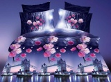 4Pcs 3D Printed Bedding Set Queen King Size Bedsheet Pillowcase Set Bridge Intl Shop