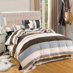 4pcs Bedding Set Quilt Cover Bed Linen Pillowcases Kit Full Size For 59.06inches Width Bed Horizontal Stripes - Intl By Stoneky.