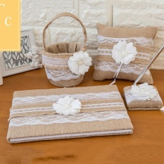 4pcs Burlap Lace Wedding Guest Book Pen Pillow Basket Set Style C - intl