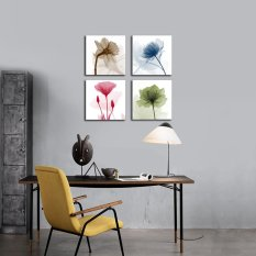4Pcs Framed Abstract Floral Modern Canvas Print Paintings Home Wall Art Decor