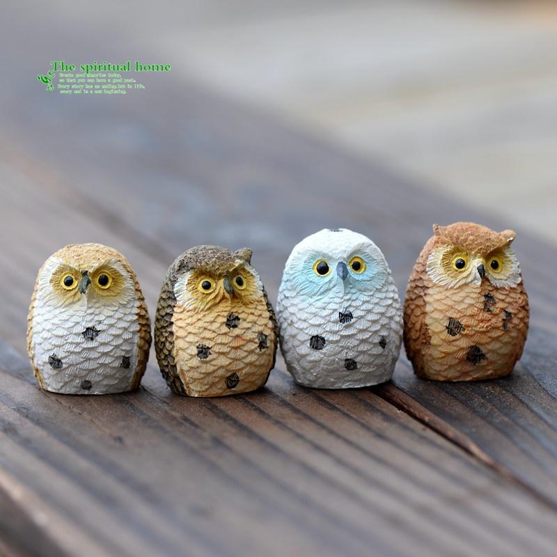 4pcs Night Owl Figures Miniature Figurine for Mini Fairy Garden Aquarium Fish Tank Animal Statue Resin Craft - intl