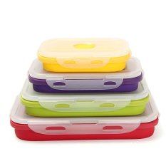 Best Buy 4Pcs Silicone Eco Collapsible Lunch Box Portable Folding Food Storage Containers