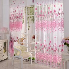 4Pcs Tulip Flower Room Window Curtain Door Sheer Voile Panel Drapes Scarfs Valances Online
