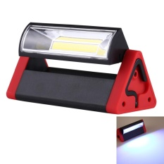 4W Portable 180 Degree Rotation Triangle Shape COB LED Energy-saving Emergency Working Lamp Camping Flashlight Light with Hook / Magnet (Red) - intl