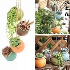4X Hanging Pots Cotta Flower Terra Colorful Herb Planter Wall Home Garden Decor Intl China