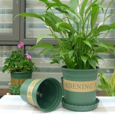 5 Gallon Flower Pots Plant Nursery Pots Plastic Pots Creative Gallons Pots With Tray,Size:31*27.5*27.5cm - intl