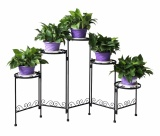 Low Cost 5 Tier Folding Plant Stand Screen Decorative Metal Plant Stand Plant Holder Iron Art Gardening Plants Flower Pot Stands Intl