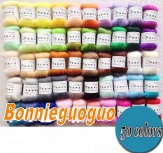 Compare Price 50 Colors Diy Wool Fibre Roving Needle Felting Hand Spinning Crafts Supply Kit Not Specified On China