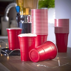 Best Rated 50 Pack Red Cup Cold Plastic Party Cups 16 Ounce Drinking Cups Washable Perfect Funny Beer Pong Games Intl