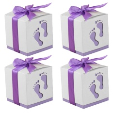 50 PCS Cute Baby Footprint Wedding Party Candy Confetti Gift Favor Box Holder with Ribbon Satin Purple - intl