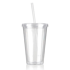 500mL Plastic Drinks Cup Liquid Beaker Lid + Straw for Party Iced Coffee Juice White (
