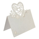 50Pcs Table Name Place Cards Greeting Card Laser Hollow Heart Shape For Wedding Party White Intl China