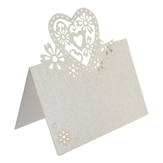 Price 50Pcs Table Name Place Cards Greeting Card Laser Hollow Heart Shape For Wedding Party White Intl China