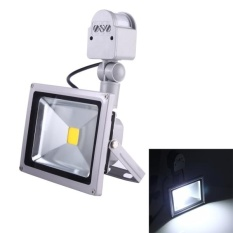 Low Cost 50W 1 Led 5000 5500Lm Ip65 Waterproof Backpack Style Led Pir Motion Sensor Outdoor Floodlight Lamp Ac 110 260V White Light Intl