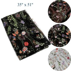 51 1 Yard Polyester Floral Embroidery Black Mesh Wedding Dress Lace Fabric - Intl By Channy.