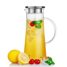Promo 52 Oz Large Capacity Glass Pitcher Carafe With Stainless Steel Lid Juice Iced Tea Hot Cold Water Beverage Hand Made Water Jug Intl
