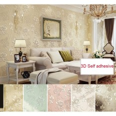 53cmx5m 3D Self adhesive Wallpaper Non Woven Fabric Safty Home Decor Floral Wallcovering For Living Room Bedroom Background Wall Stickers - intl