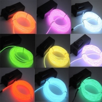 5M/16ft Flexible EL Wire Neon LED Light Rope Party Car Decoration(Color:Red)