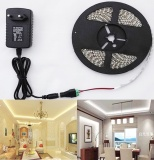 Discount 5M 3528 Led Strip Light 300Leds 12V Power Supply Dc Connector Warm White Intl