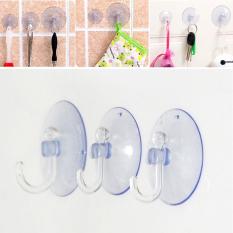 5Pcs Transparent Wall Hooks Hanger Kitchen Bathroom Suction Cup Sucker Strong Accessory 3.5cm