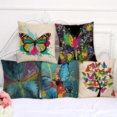 5PCS Waist Cushion Pillowcase Graffiti Colorful Butterfly Pattern Cotton Linen Pillow Cover Bay Window Decor - intl