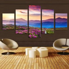 5Piece NO Frame The Sunset and The Mountain Modern Home Wall Decor Canvas Picture Painting