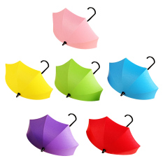 6 Pcs DIY Colorful Plastic Small Umbrella Shape Wall Mounted Hanger J Hook for Keys Holder Small Items Storage Rack