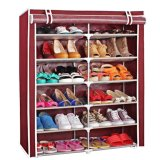 Sale 6 Tier Non Woven Fabrics Dustproof Storage Shoe Rack Cabinet Closet Organizer Shelf With Cover Purplish Red